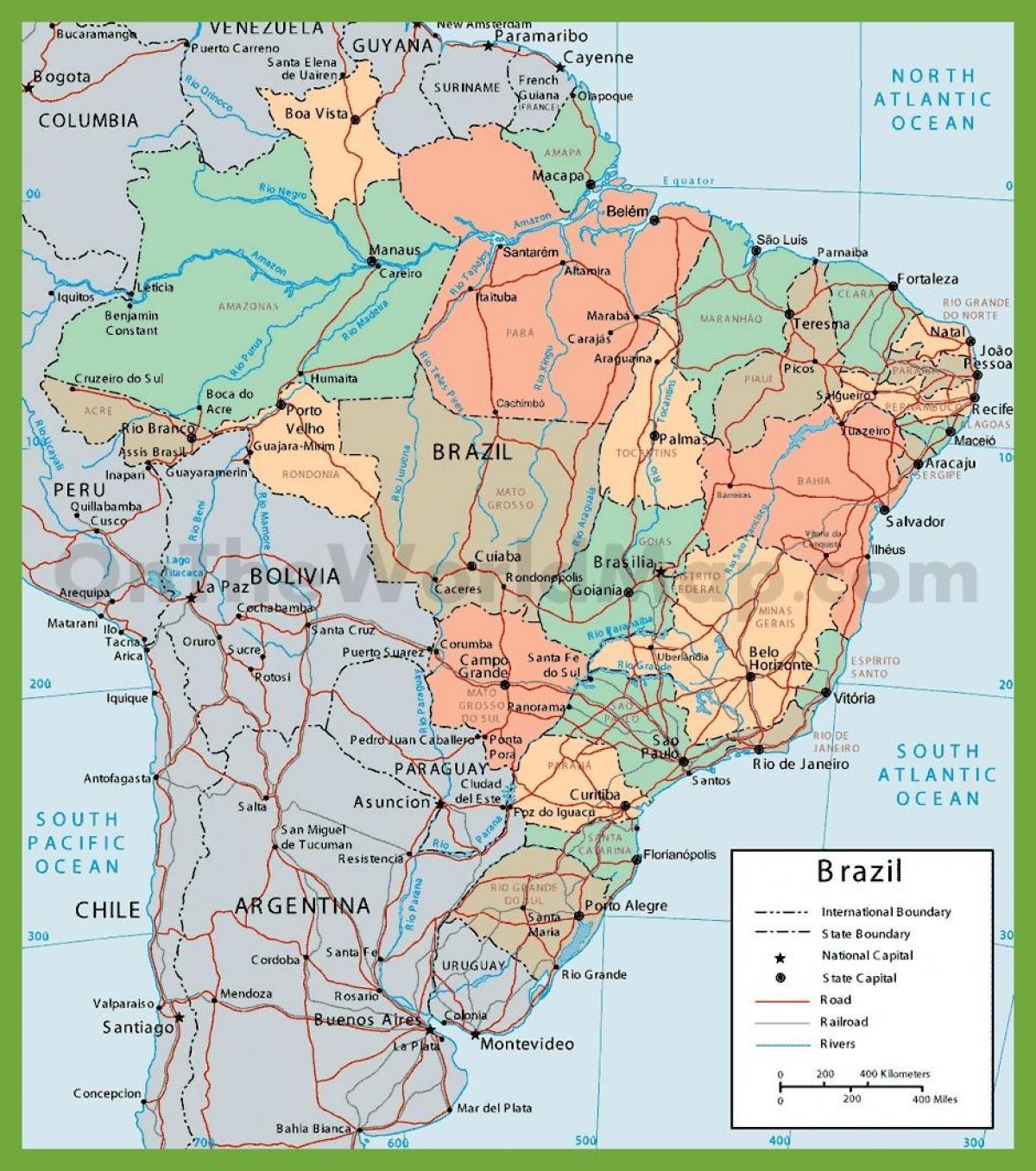 America Del Sud Cartina Politica.Mappa Politica Del Brasile Politico Mappa Brasile